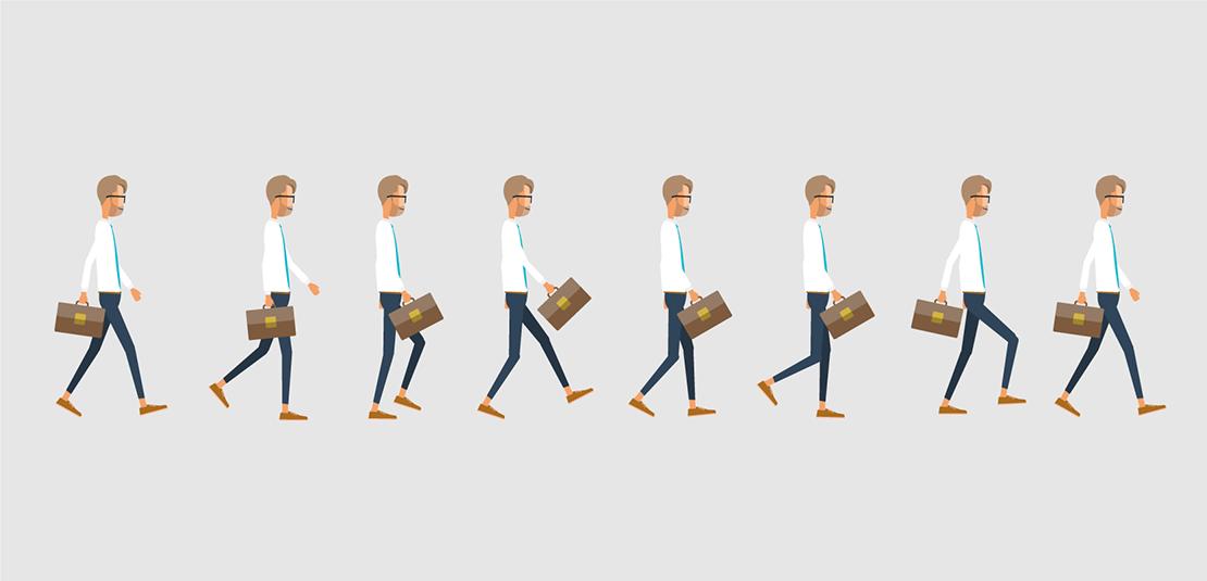 Décomposition de la marche du personnage pour le motion design